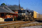 NS237 passes NS Gaineville Depot on a sunny and chilly Christmas Eve