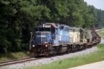 ex-CSX 1973 leads ex-CNW4556 with a train into Toccoa