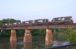 Classic power heading North across the Ocmulgee River
