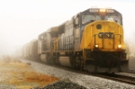 CSX 4558 roaring out of the fog