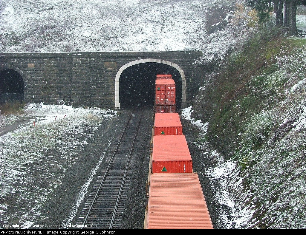 Intermodal stacks entering the Allegheny Tunnel