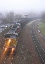 Westbound UP Empty Coal Train in the Fog