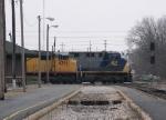 Westbound CSX Intermodal Overtaking a Westbound CSX Manifest