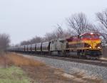 Southbound KCS Loaded Grain Train