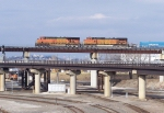 Westbound BNSF Intermodal Over a BNSF Northbound Empty Coal Train DPU