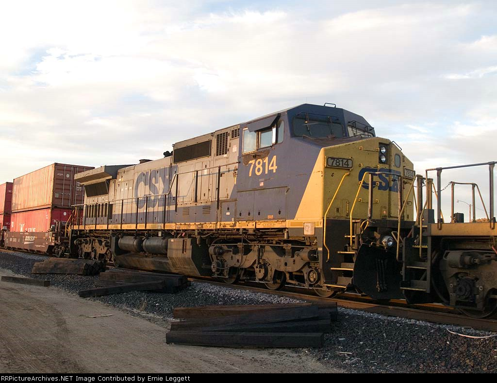 CSX 7814 #5 power in an EB doublestack at 4:46pm