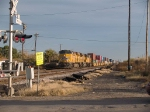 UP 7758 leads a WB doublestack at 4:01pm