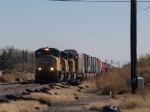 UP 4214 leads a WB doublestack at 12:47pm