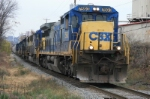 CSX 7593 along with 4 motors and 1 slug slowly leads the Q226
