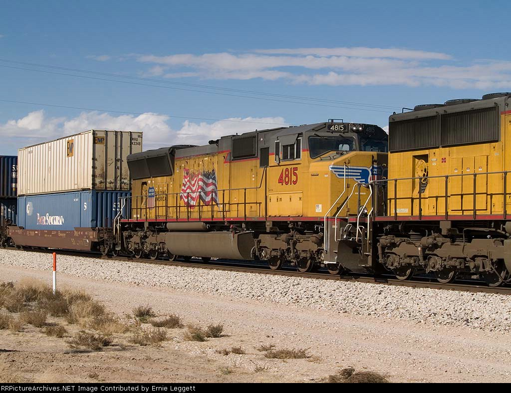 UP 4815 #2 power in an EB doublestack at 12:39pm