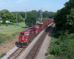 After a crew change, CP 9579 leads hot train #185 west