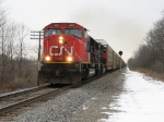 CN 5669 Leads a Rack Train WB