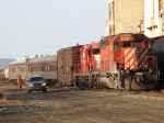 CP 5727 & 8217 pull the tec train out of Thunder Bay