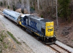 CSX 1540 pulls FRA test car T-16 (DOTX 216) as it enters South Carolina