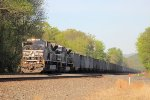 A pair of SD80MAC's lead empty hopper train 593 west into the afternoon sun