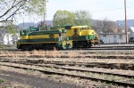 A pair of ersatz Reading locomiotives, SW9 # 239 and GP 35 # 5514 perform maneuvers at the west end of the yard