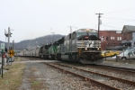 NS unit grain train rolls east through town on the Conemaugh Line