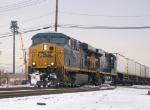 Two Gevo's lead a trailer train south.