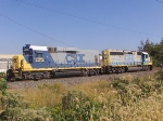 CSX Slug Set leads rail train headed eastbound