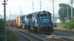 NS 5401 & 5403 are seen stopped at CP Belt with a loaded rail train
