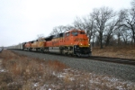 BNSF 9386 with a loaded FEPX train