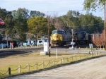 CSX 631 passes railfans at the old station