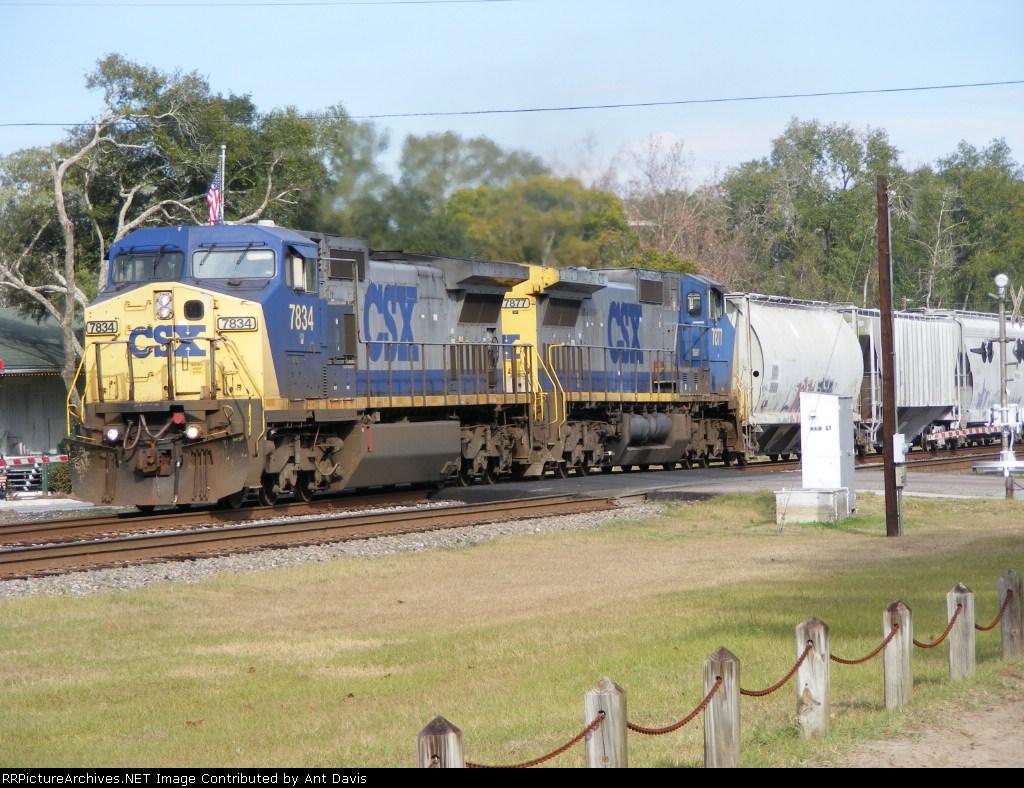 CSX 7834 & 7877 pull a long mixed train