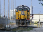 FEC 703 and 709 sit just inside the South gate to the intermodal terminal after switching cars all morning