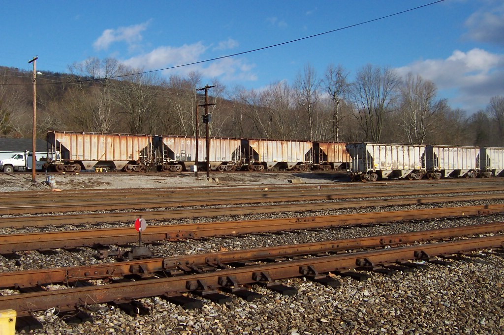 Ex - Conrails, N&W's, and Southerns line the yard waiting to be interchanged to the Franklin Industrial