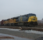 L438-09 is led by CSX 654, UP 9259 & UP 2291
