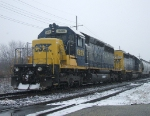 CA-11 with CSX 8829 & 8151 wait in the first snow of the season for a new crew
