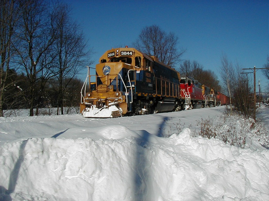 NECR 3844 3840 3857 pulling a southbound freight train 1/3/08