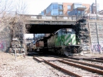 080328019 Westbound BNSF freight passes Main Street Bridge (Boom Island) on Wayzata Sub.