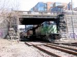 080328019 Westbound BNSF freight passes Main Street Bridge (Boom Island) on Wayzata Sub.