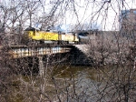 "080415006 UP ""MIR"" local passes doomed Main Street bridge and crosses Mississippi River on BNSF Wayzata Sub."