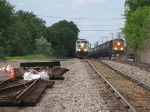 080613028 Westbound BNSF freight headed for Wayzata Sub., and eastbound freight on Saint Paul Sub., seen side-by-side from CTC Van Buren