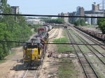 080614046 Westbound UP freight makes backup move into ex-C&NW East Mpls Yard