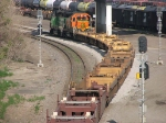 080713011 Eastbound BNSF Bare Table rolls through CTC St. Anthony on Midway Sub.