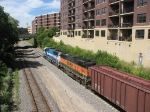 080805004 Westbound BNSF freight passes 1st Street North on Wayzata Sub.