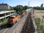 "080810021 Westbound BNSF ""Chicago-Laurel"" passes new Stadium Jct. on Wayzata Sub."