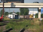 080814030 Eastbound TCWR grain train has just met westbound UP unit covered hopper train