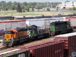 "080918044 BNSF locos sitting in Northtown ""Boondocks"" area awaiting uncertain futures"