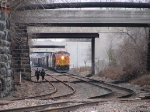08112726 Westbound BNSF freight approaches Nicollet Island on Wayzata Sub.