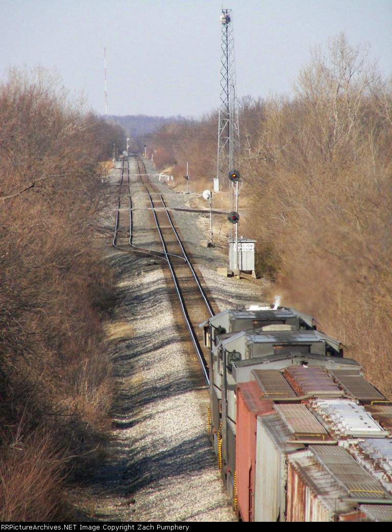 Stopped Northbound KCS Empty Grain Train