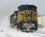 Q326 Kicks up a blizzard as it blasts east with 2 cars