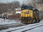 CSX 9052 and 8051 slowly bring Q335 into the yard