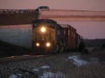 Q327 heads west in fading light