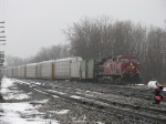 CP 9513 leads X500-05 into the yard on a misty, foggy January day