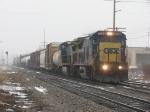 CSX 7644 & 7868 lead Q326-06 eastward through the fog