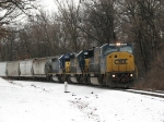 CSX 8744 leads two SD40-2's west towards the Seymour with Q335-11